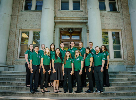 Presidential Ambassadors pictured on the steps of the Administration Building at Colorado State