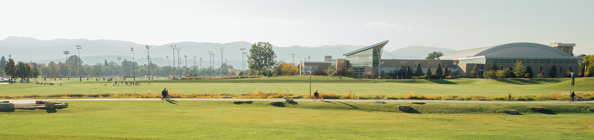 Colorado State University campus with a view of the Rec Center and the foothills